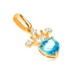 Pandantiv din aur galben 9K, coroană zirconiu, topaz albastru în formă de inimă