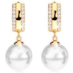 Cercei din aur 585 - cerculeț cu zirconii pe margini, o perlă albă rotunjită