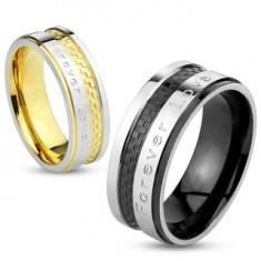 """Verighetă din oțel în culori aurii și argintii, model tablă de șah,""""Forever Love"""" (Dragoste Veșnică), 6 mm"""