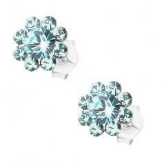 Cercei cu șurub, argint 925, floare strălucitoare albastru deschis