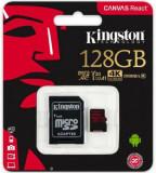 Card de memorie Kingston Canvas React, microSDXC, 128 GB, 100 MB/s Citire, 80 MB/s Scriere, Clasa 10 UHS-I V30 + Adaptor SD