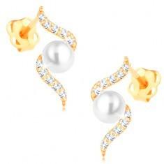 Cercei din aur galben de 14K - spirală lucioasă cu o perlă albă