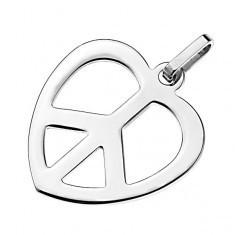 Pandantiv lucios din oțel - inimă cu simbolul PĂCII