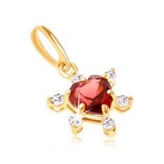 Pandantiv din aur 9K - inimă roşie din granat cu pietre transparente