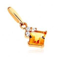 Pandantiv din aur 375 - citrin pătrat galben, zirconii transparente strălucitoare