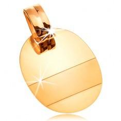 Pandantiv din aur de 14K - placă ovală lucioasă cu fâșie mată