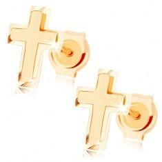 Cercei din aur 585 - cruce latină mică, combinaţie de suprafaţă lucioasă şi mată