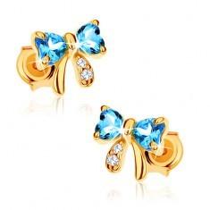 Cercei din aur 375 - fundiţă topaz albastru, zirconii transparente
