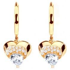 Cercei din aur 585 - cerc cu inimă strălucitoare atârnătoare, zirconii transparente