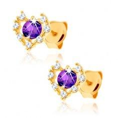 Cercei din aur 375 - contur de inimă zirconii transparente, ametist violet