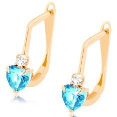 Cercei din aur galben 585 - inimă din topaz sintetic albastru, zirconiu transparent