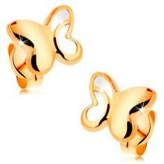 Cercei din aur de 14K - fluture lucios cu parte decupată pe aripă