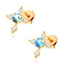Cercei din aur 375 cu şurub - cruce cu braţe cu zirconii, topaz albastru