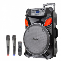 Sistem Karaoke Portabil ZEPHYR ZP 9999 B15, 15 inch, Baterie incorporată, Bluetooth, 2 Microfoane wireless, Negru