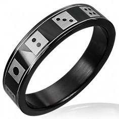 Inel negru din oțel cu zaruri