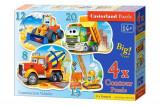 Puzzle 4 in 1 - Masinarii de constructie, 55 piese, castorland