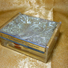 Cutie caseta Art Deco Mid Century Modern, placat argint, cadou vintage