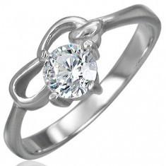 Inel de logodnă realizat din oțel chirurgical cu zirconiu transparent și două bucle