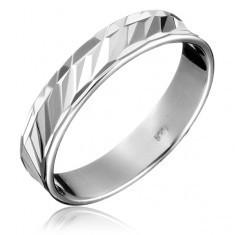 Verighetă argint 925 - goluri diagonale, circumferințe multiple