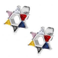 Cercei din oțel, steaua lui David compusă din zirconii colorate