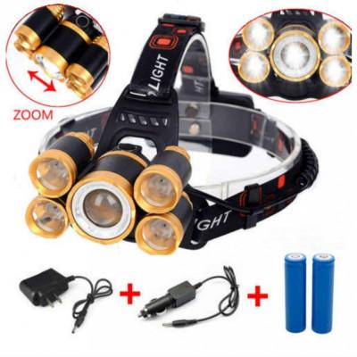 Lanterna De Cap 5 x Led ZOOM Frontala + 2x Acumulatori 18650 C248 foto