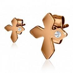 Cercei aurii din oţel, cruce cu ştras transparent