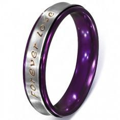 Inel argintiu din oțel - inscripția Forever Love, margini violet