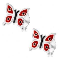 Cercei realizaţi din argint 925, fluturi lucioşi roşii - puncte albe şi negre, cu şurub