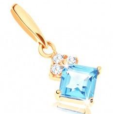 Pandantiv din aur 585 - topaz albastru pătrat, zirconii transparente strălucitoare