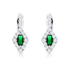 Cercei cu un romb din ştrasuri transparente şi un zirconiu oval, verde, argint 925