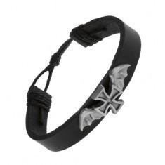 Brățară din piele de culoare neagră, cruce Malteză cu aripi de liliac