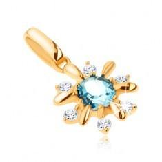 Pandantiv din aur 375 - floare decorată cu pietre transparente şi topaz albastru