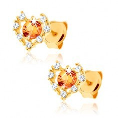 Cercei din aur galben 14K - contur inimă zirconii transparente, citrin galben