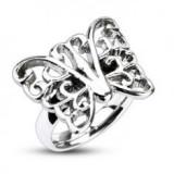 Inel din oțel - fluture mare decorativ