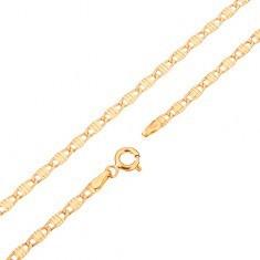 Lanț din aur de 14K - zale alungite decorate cu caneluri, 445 mm