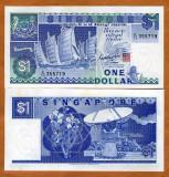 !!!  SINGAPORE  -  1  DOLAR  (1987)  -  P 18  - UNC