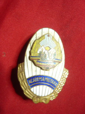 Insigna Academia Militara , metal si email , h=4,2cm foto