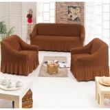 Set huse 311, pentru o canapea 3 locuri si 2 fotolii, culoare maro, elastice