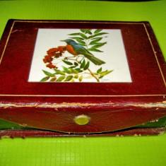 Cutie portabila bijuterii poseta Art Deco fata marcata  Flaques anii 1900-1930.