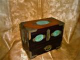 Cutie caseta bijuterii sec 20, lemn jad alama cufar colectie cadou