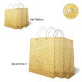 Set pungi aurii cu sclipici pentru cadouri - 2 dimensiuni, Radar, set 6 buc