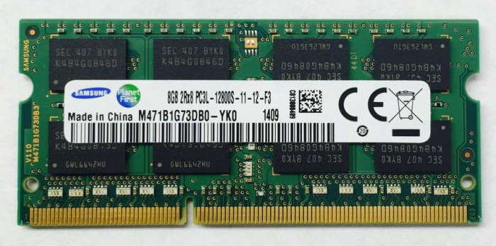 Memorii Laptop Samsung 8GB DDR3 PC3L-12800S 1600Mhz 1.35V M471B1G73DB0