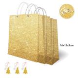 Set pungi aurii cu sclipici pentru cadouri + etichete - 16 x 19 x 8 cm, Radar