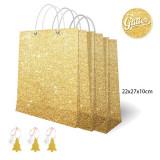 Set pungi aurii cu sclipici pentru cadouri + etichete - 22 x 27 x 10 cm, Radar
