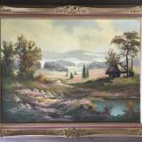 Tablou pictat in ulei pe panza - 94cm x 74cm cu semnatura, Peisaje, Altul