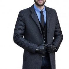 Palton Barbati Gri Casual Lung cu Maneci Umplute cu Puf de Gasca B145 Fer