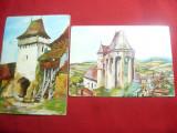2 Ilustrate Monumente -Biserica Buzd si Turn de Poarta Viscri dupa acuarele, Necirculata, Printata