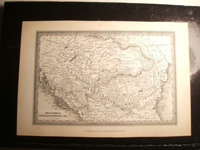HARTA ORIGINALA / ANTICA CU DACIA / PANONNIA ILYRIA SI MOESIA , EDITATA LA 1847