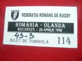 Bilet Tombola nr.114 la Meci Rugby 1998 Romania-Olanda