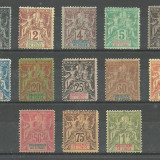 INDIA - ( COLONIE  FRANCEZA )  NAVIGATIE  SI  COMERT  1892  SERIE COMPLETA   MH, Nestampilat